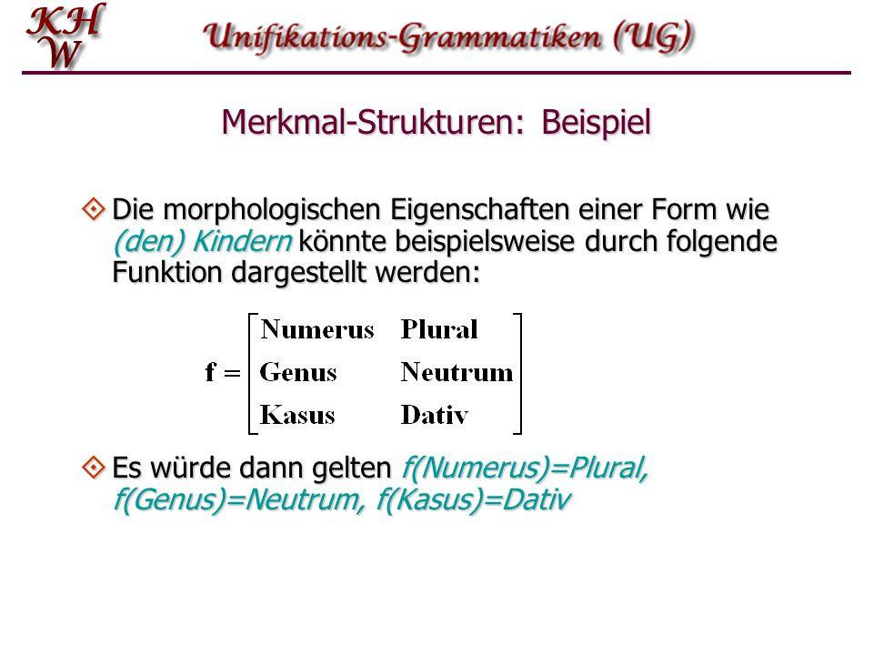 Merkmal-Strukturen: Beispiel  Die morphologischen Eigenschaften einer Form wie (den) Kindern könnte beispielsweise durch folgende Funktion dargestell