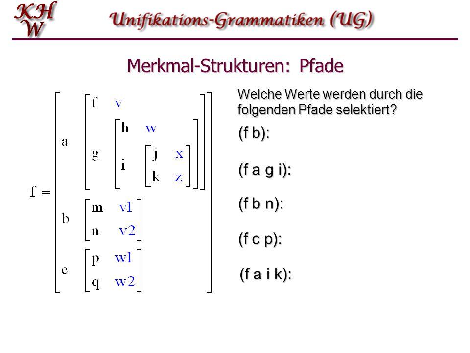 Merkmal-Strukturen: Pfade Welche Werte werden durch die folgenden Pfade selektiert? (f b): (f a g i): (f b n): (f c p): (f a i k):