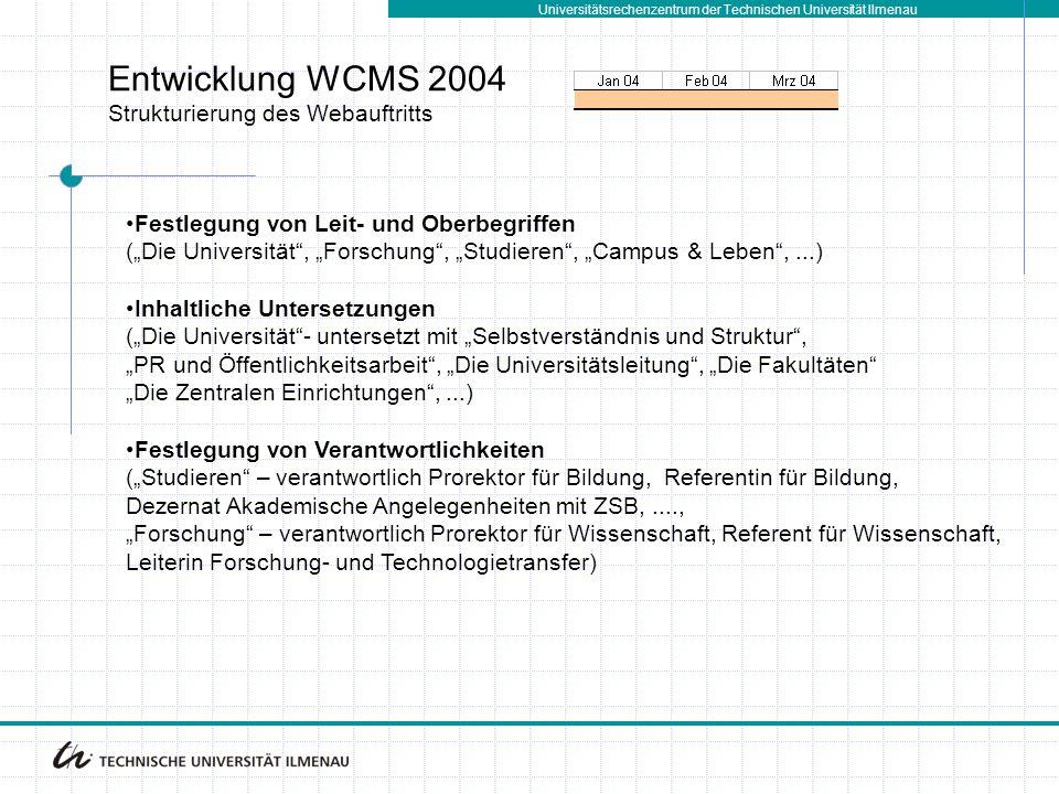 Universitätsrechenzentrum der Technischen Universität Ilmenau Entwicklung WCMS 2004 Strukturierung des Webauftritts Festlegung von Leit- und Oberbegri
