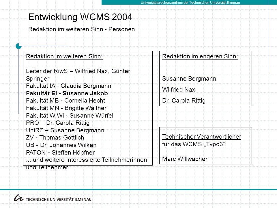 Universitätsrechenzentrum der Technischen Universität Ilmenau Entwicklung WCMS 2004 Redaktion im weiteren Sinn - Personen Redaktion im weiteren Sinn: