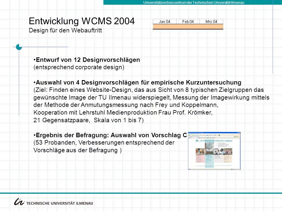 Universitätsrechenzentrum der Technischen Universität Ilmenau Entwicklung WCMS 2004 Design für den Webauftritt Entwurf von 12 Designvorschlägen (entsp