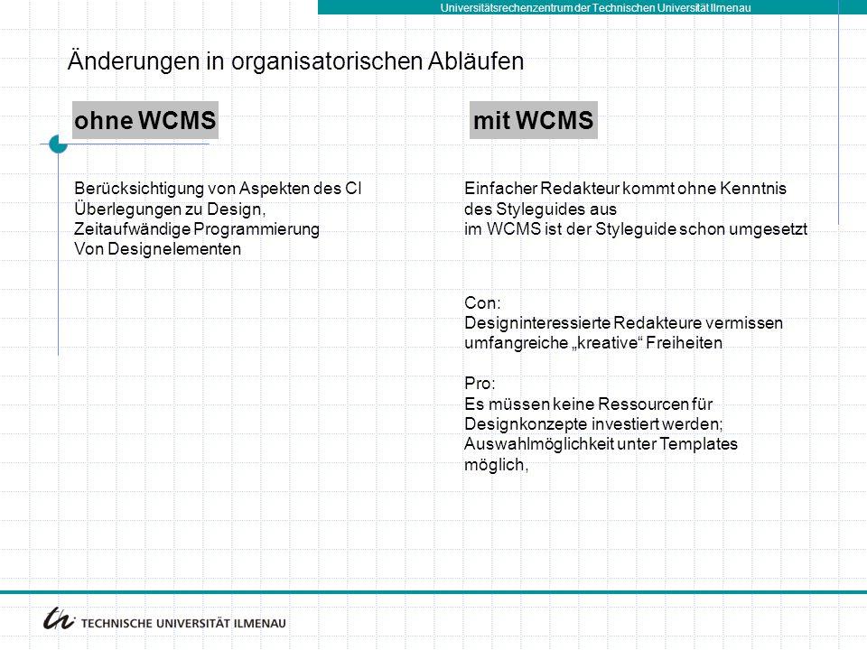 Universitätsrechenzentrum der Technischen Universität Ilmenau ohne WCMSmit WCMS Berücksichtigung von Aspekten des CI Überlegungen zu Design, Zeitaufwä