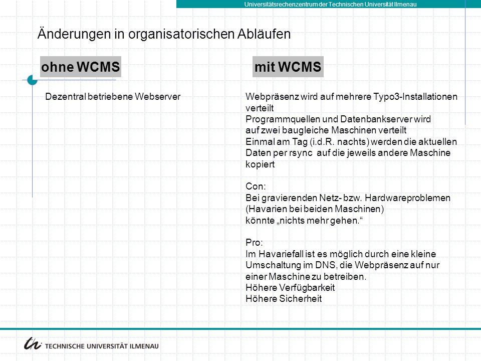 Universitätsrechenzentrum der Technischen Universität Ilmenau ohne WCMSmit WCMS Dezentral betriebene WebserverWebpräsenz wird auf mehrere Typo3-Installationen verteilt Programmquellen und Datenbankserver wird auf zwei baugleiche Maschinen verteilt Einmal am Tag (i.d.R.