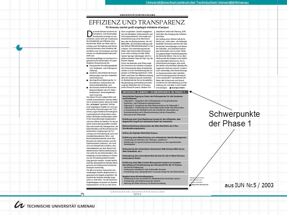 Universitätsrechenzentrum der Technischen Universität Ilmenau aus IUN Nr.5 / 2003 Schwerpunkte der Phase 1