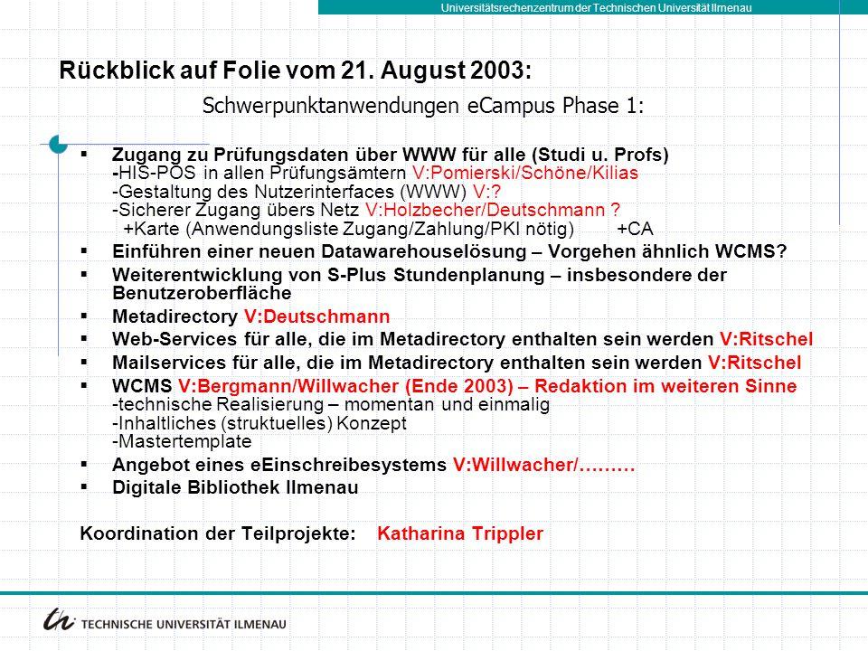 Universitätsrechenzentrum der Technischen Universität Ilmenau  Zugang zu Prüfungsdaten über WWW für alle (Studi u. Profs) -HIS-POS in allen Prüfungsä