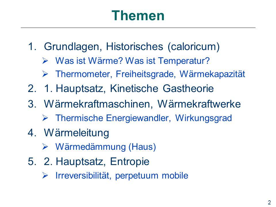 2 Themen 1.Grundlagen, Historisches (caloricum)  Was ist Wärme.