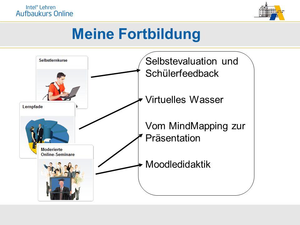Meine Fortbildung Selbstevaluation und Schülerfeedback Virtuelles Wasser Vom MindMapping zur Präsentation Moodledidaktik