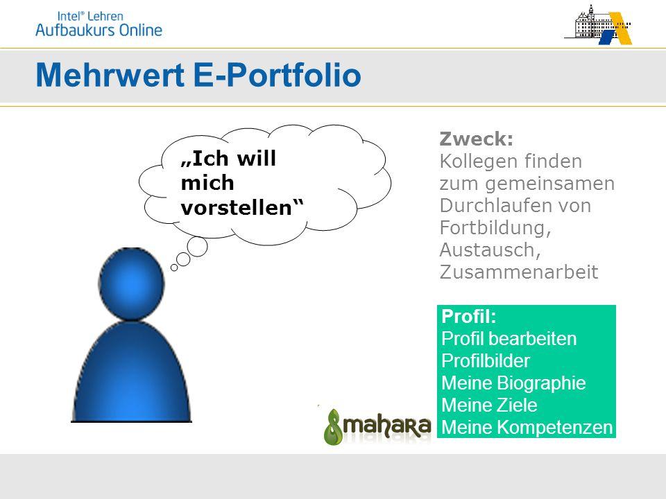 """Mehrwert E-Portfolio Profil: Profil bearbeiten Profilbilder Meine Biographie Meine Ziele Meine Kompetenzen """"Ich will mich vorstellen"""" Zweck: Kollegen"""