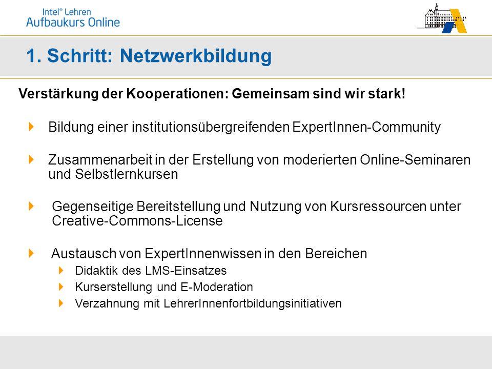1. Schritt: Netzwerkbildung Verstärkung der Kooperationen: Gemeinsam sind wir stark.