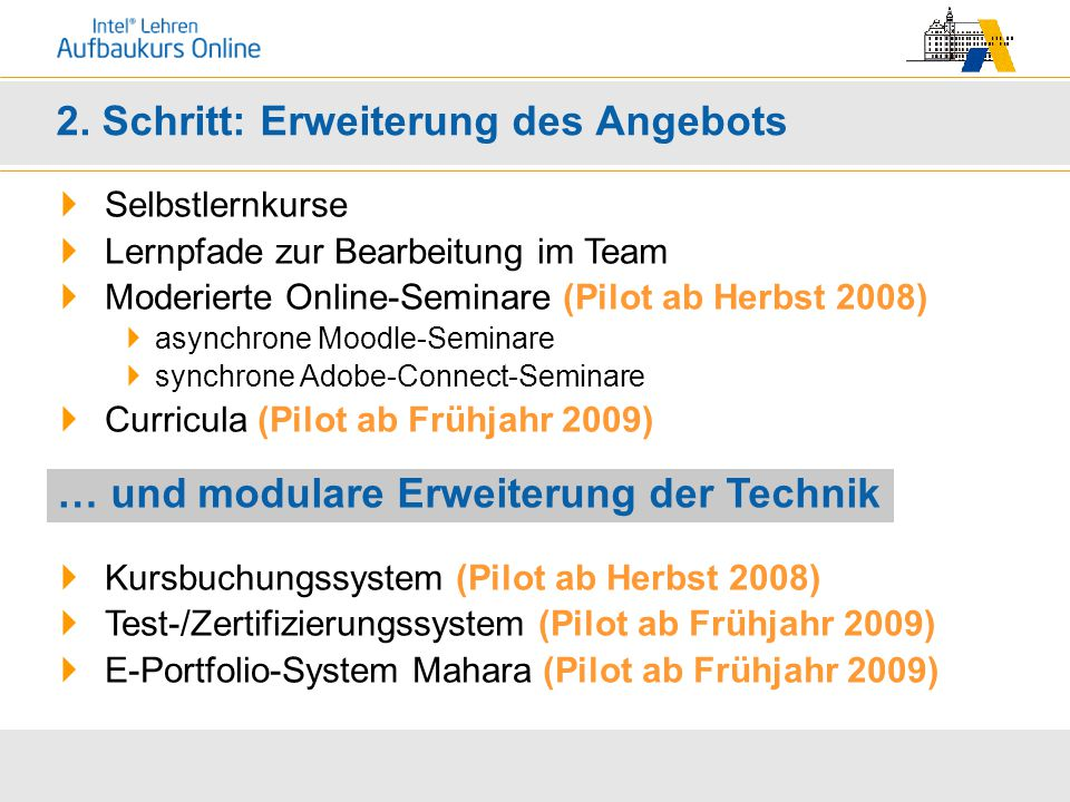 2. Schritt: Erweiterung des Angebots  Selbstlernkurse  Lernpfade zur Bearbeitung im Team  Moderierte Online-Seminare (Pilot ab Herbst 2008)  async