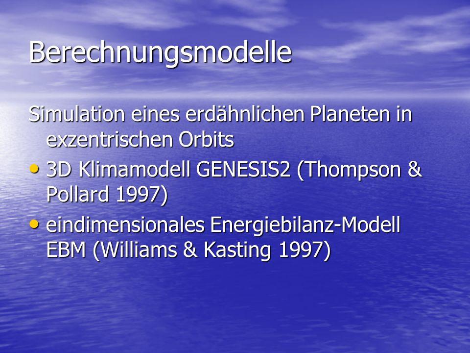 Berechnungsmodelle Simulation eines erdähnlichen Planeten in exzentrischen Orbits 3D Klimamodell GENESIS2 (Thompson & Pollard 1997) 3D Klimamodell GENESIS2 (Thompson & Pollard 1997) eindimensionales Energiebilanz-Modell EBM (Williams & Kasting 1997) eindimensionales Energiebilanz-Modell EBM (Williams & Kasting 1997)