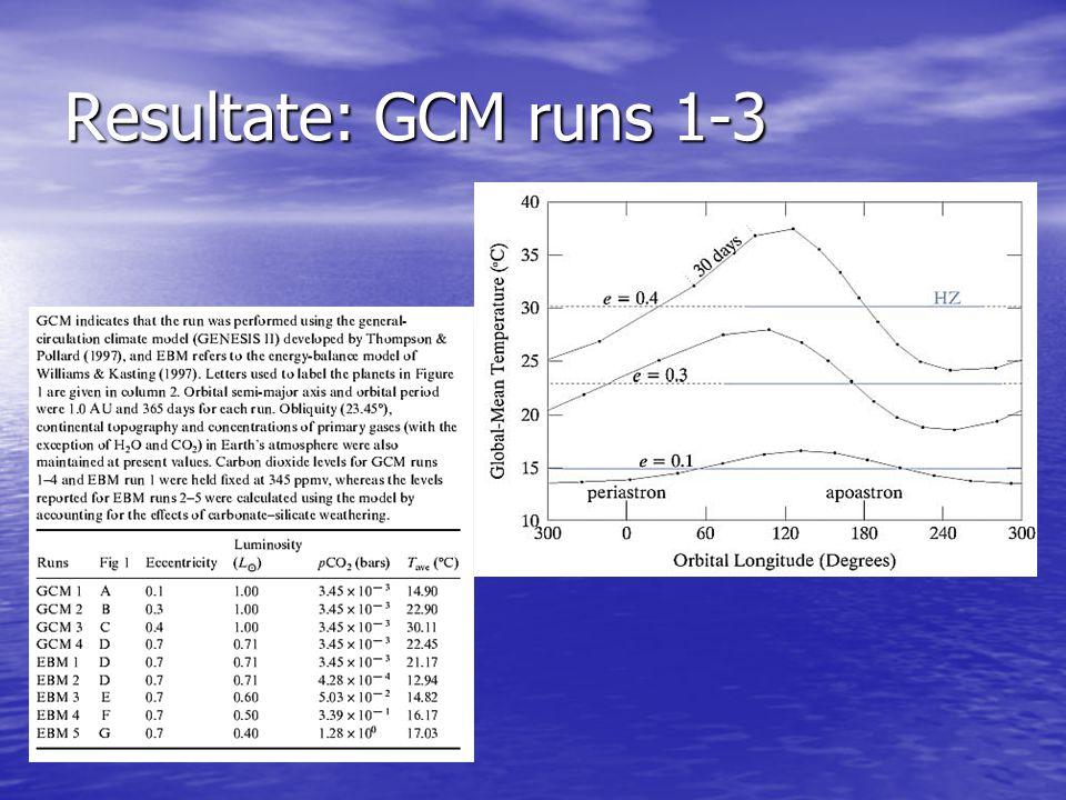 Resultate: GCM runs 1-3