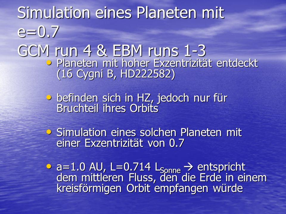 Simulation eines Planeten mit e=0.7 GCM run 4 & EBM runs 1-3 Planeten mit hoher Exzentrizität entdeckt (16 Cygni B, HD222582) Planeten mit hoher Exzentrizität entdeckt (16 Cygni B, HD222582) befinden sich in HZ, jedoch nur für Bruchteil ihres Orbits befinden sich in HZ, jedoch nur für Bruchteil ihres Orbits Simulation eines solchen Planeten mit einer Exzentrizität von 0.7 Simulation eines solchen Planeten mit einer Exzentrizität von 0.7 a=1.0 AU, L=0.714 L Sonne  entspricht dem mittleren Fluss, den die Erde in einem kreisförmigen Orbit empfangen würde a=1.0 AU, L=0.714 L Sonne  entspricht dem mittleren Fluss, den die Erde in einem kreisförmigen Orbit empfangen würde