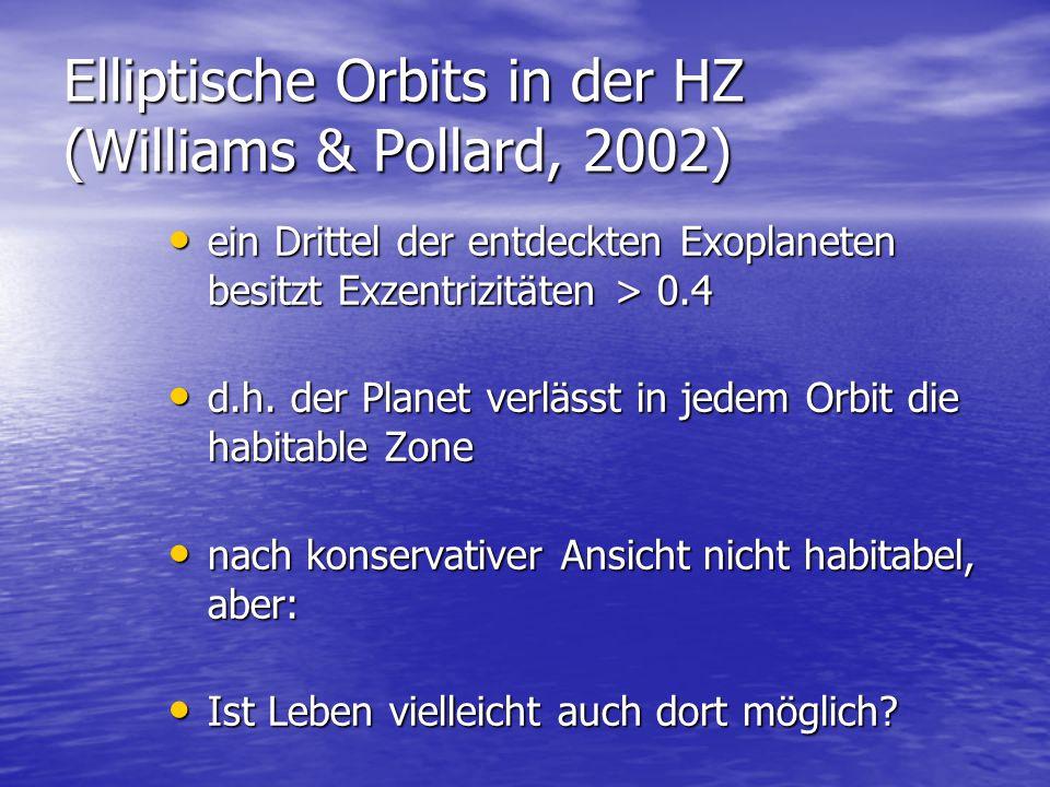 Elliptische Orbits in der HZ (Williams & Pollard, 2002) ein Drittel der entdeckten Exoplaneten besitzt Exzentrizitäten > 0.4 ein Drittel der entdeckten Exoplaneten besitzt Exzentrizitäten > 0.4 d.h.