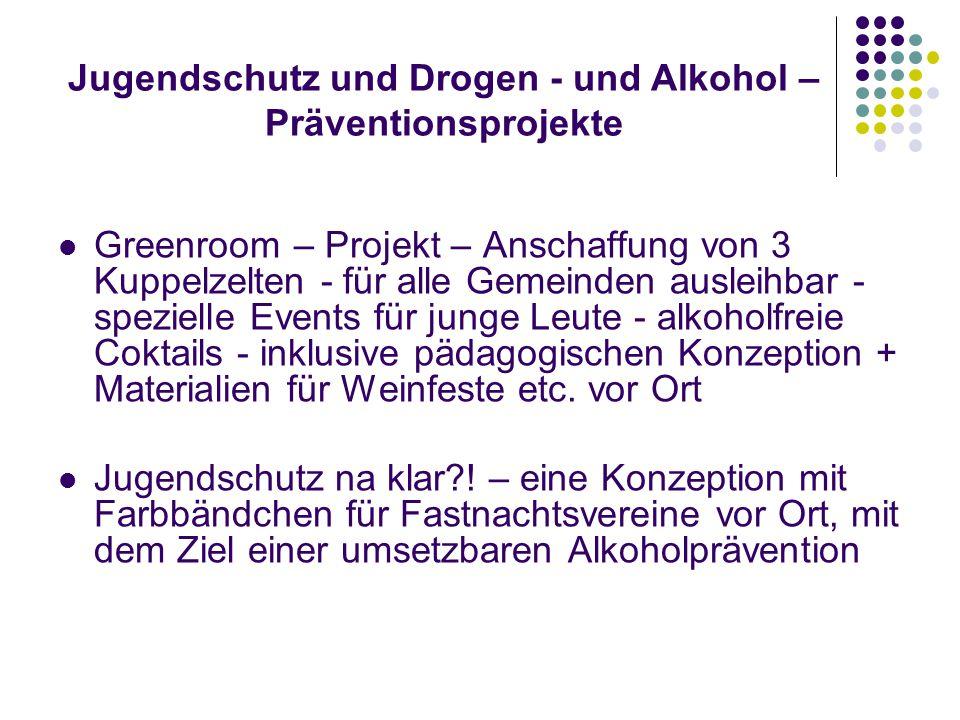 Jugendschutz und Drogen - und Alkohol – Präventionsprojekte Greenroom – Projekt – Anschaffung von 3 Kuppelzelten - für alle Gemeinden ausleihbar - spezielle Events für junge Leute - alkoholfreie Coktails - inklusive pädagogischen Konzeption + Materialien für Weinfeste etc.