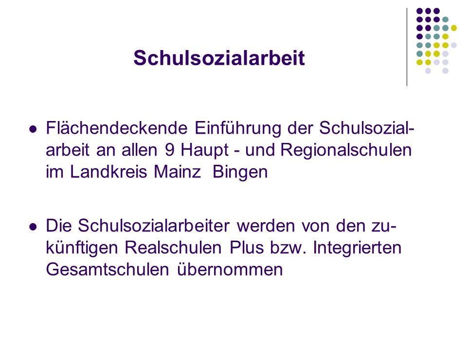 Flächendeckende Einführung der Schulsozial- arbeit an allen 9 Haupt - und Regionalschulen im Landkreis Mainz Bingen Die Schulsozialarbeiter werden von den zu- künftigen Realschulen Plus bzw.
