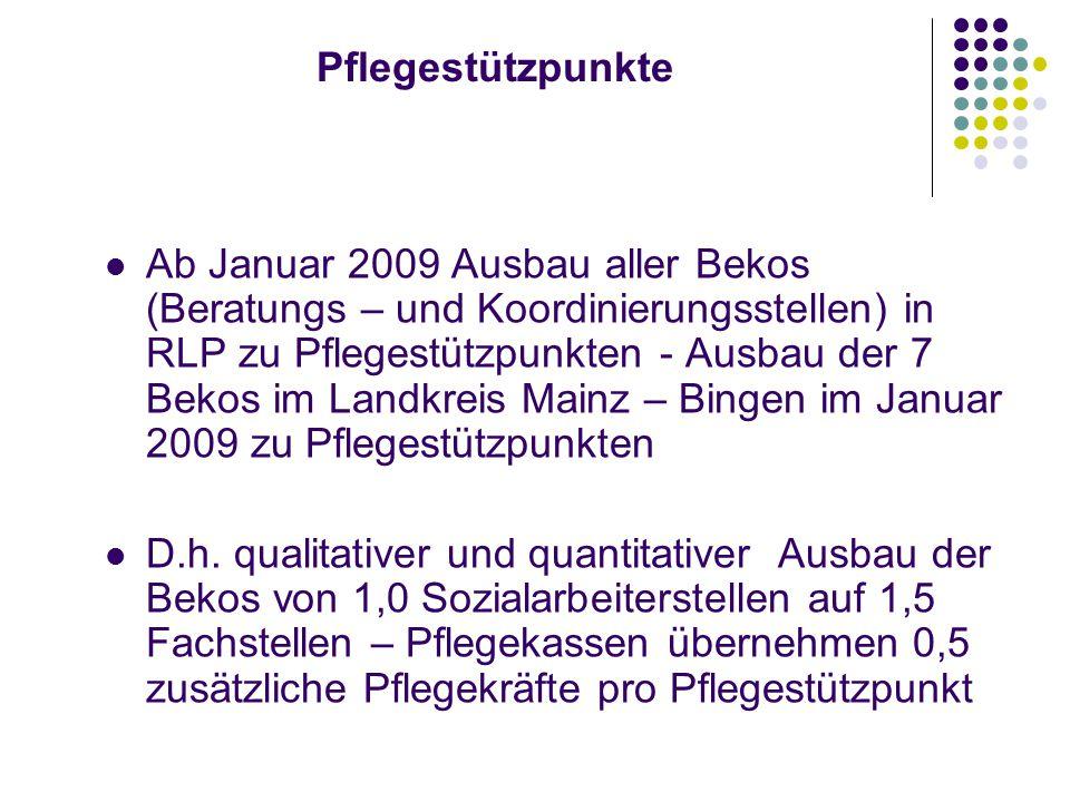 Pflegestützpunkte Ab Januar 2009 Ausbau aller Bekos (Beratungs – und Koordinierungsstellen) in RLP zu Pflegestützpunkten - Ausbau der 7 Bekos im Landkreis Mainz – Bingen im Januar 2009 zu Pflegestützpunkten D.h.