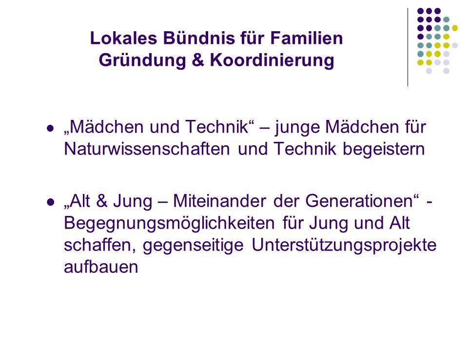 """Lokales Bündnis für Familien Gründung & Koordinierung """" Erziehungs – und Familienkompetenz – Stärkung der Erziehungskompetenz von Familien z.B."""