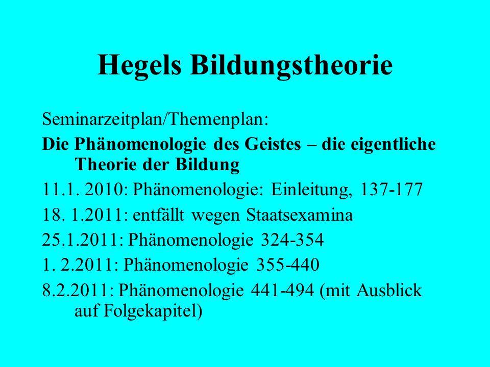 Hegels Bildungstheorie Seminarzeitplan/Themenplan: Hegels Rechtsphilosophie und das Problem der Bildung 14. 12. 2010: Rechtsphilosophie (§§ 4-11, 33;
