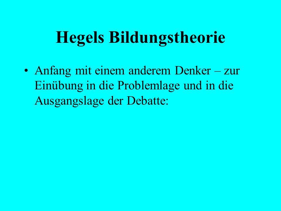 """Hegels Bildungstheorie Ausgangslage: """"Bildung"""" – gilt als Schlüsselthema der Gegenwart in (post)modernen Gesellschaften Klare Vorstellungen von Begrif"""