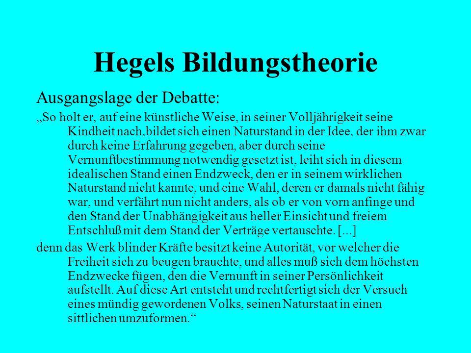 """Hegels Bildungstheorie Ausgangslage der Debatte: """"Eine sprechende Bildung wird also vom Menschen gefordert, sobald man sich seiner sittlichen Bestimmu"""