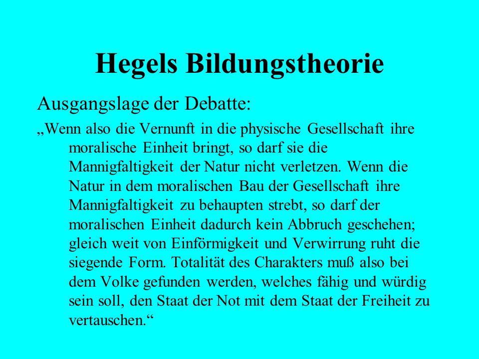"""Hegels Bildungstheorie Ausgangslage der Debatte: """"Der Mensch kann sich aber auf eine doppelte Weise entgegengesetzt sein: entweder als Wilder, wenn se"""