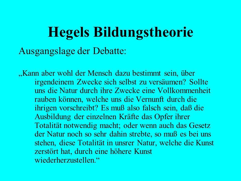 """Hegels Bildungstheorie Ausgangslage der Debatte: """"Wenn also die Vernunft in die physische Gesellschaft ihre moralische Einheit bringt, so darf sie die"""