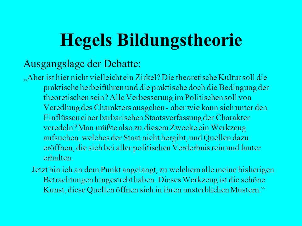 """Hegels Bildungstheorie Ausgangslage der Debatte: """"Der zahlreichere Teil der Menschen wird durch den Kampf mit der Not viel zu sehr ermüdet und abgespa"""