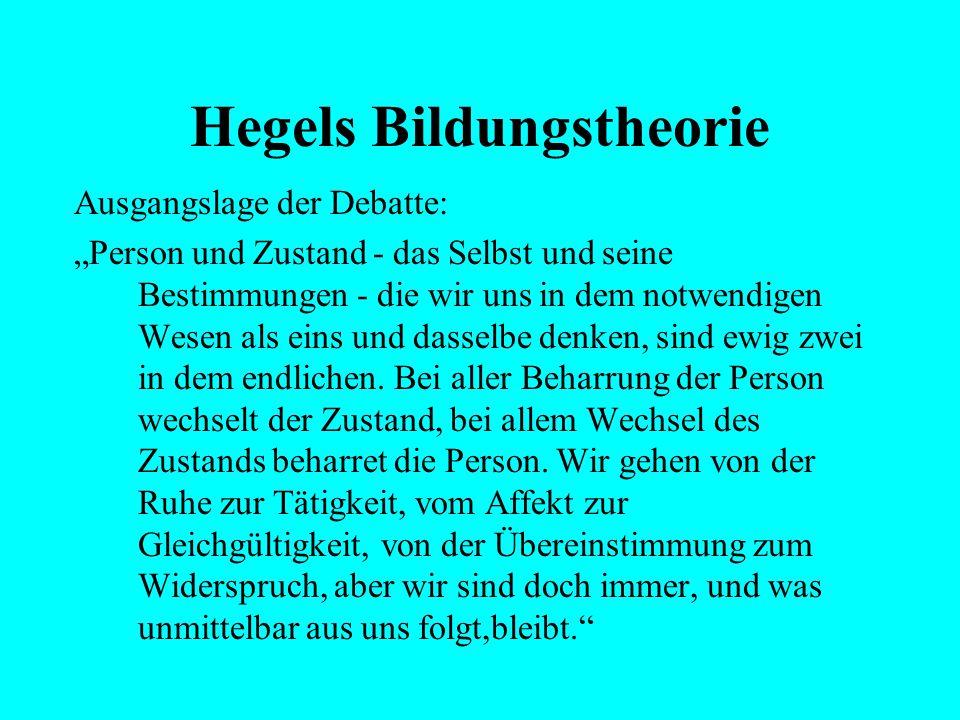 """Hegels Bildungstheorie Ausgangslage der Debatte: """"Wenn die Abstraktion so hoch, als sie immer kann, hinaufsteigt, so gelangt sie zu zwei letzten Begri"""