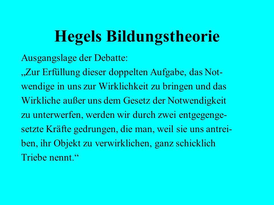 """Hegels Bildungstheorie Ausgangslage der Debatte: """"Die Person also muß ihr eigener Grund sein, denn das Bleibende kann nicht aus der Veränderung flie-"""