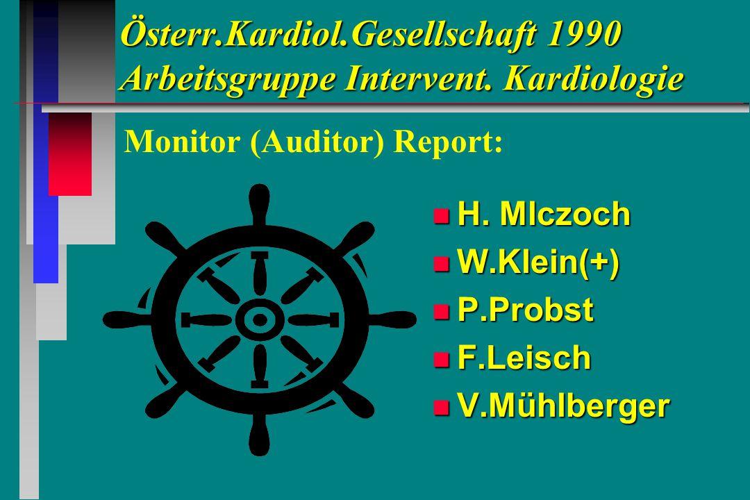 Österr.Kardiol.Gesellschaft 1990 Arbeitsgruppe Intervent. Kardiologie n H. Mlczoch n W.Klein(+) n P.Probst n F.Leisch n V.Mühlberger Monitor (Auditor)