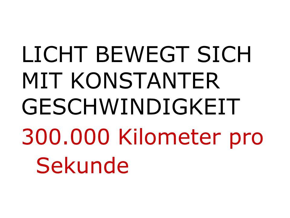 LICHT BEWEGT SICH MIT KONSTANTER GESCHWINDIGKEIT 300.000 Kilometer pro Sekunde
