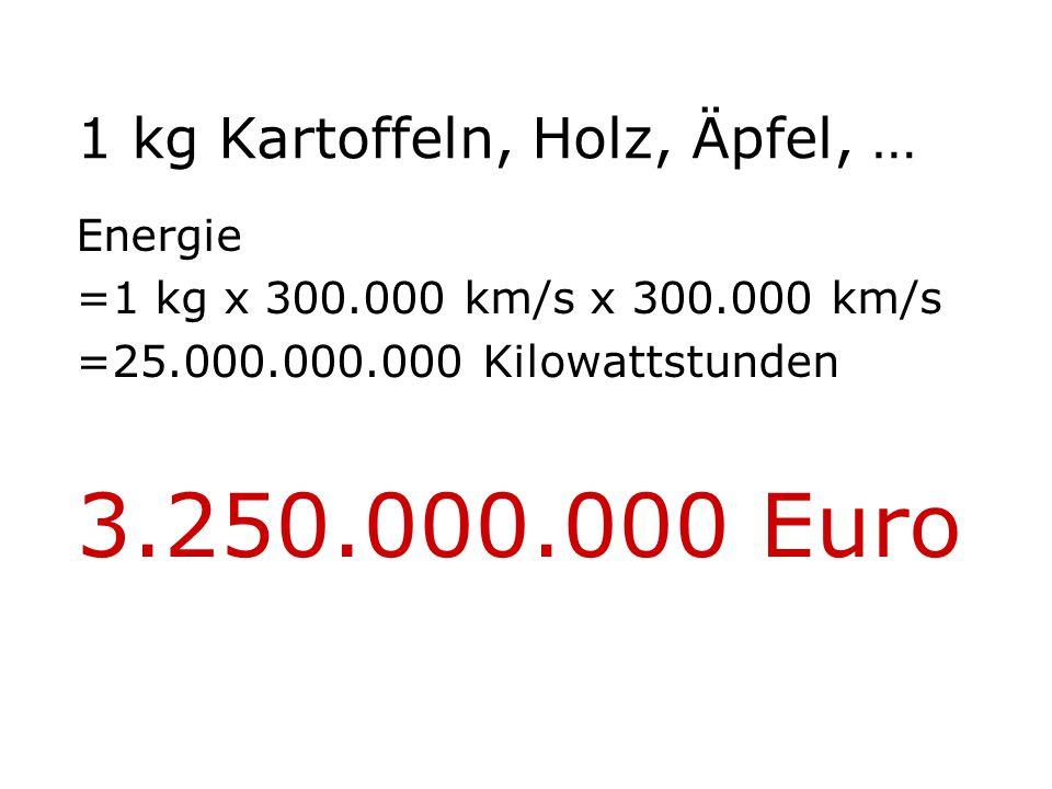 1 kg Kartoffeln, Holz, Äpfel, … Energie =1 kg x 300.000 km/s x 300.000 km/s =25.000.000.000 Kilowattstunden 3.250.000.000 Euro