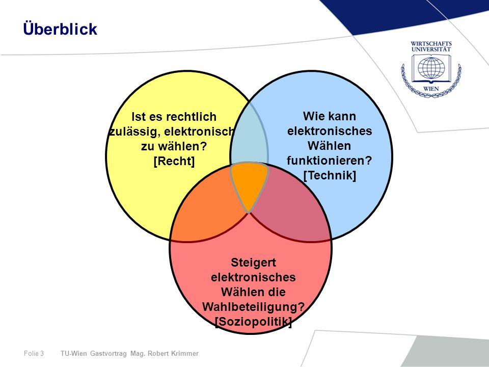TU-Wien Gastvortrag Mag. Robert KrimmerFolie 3 Ist es rechtlich zulässig, elektronisch zu wählen.