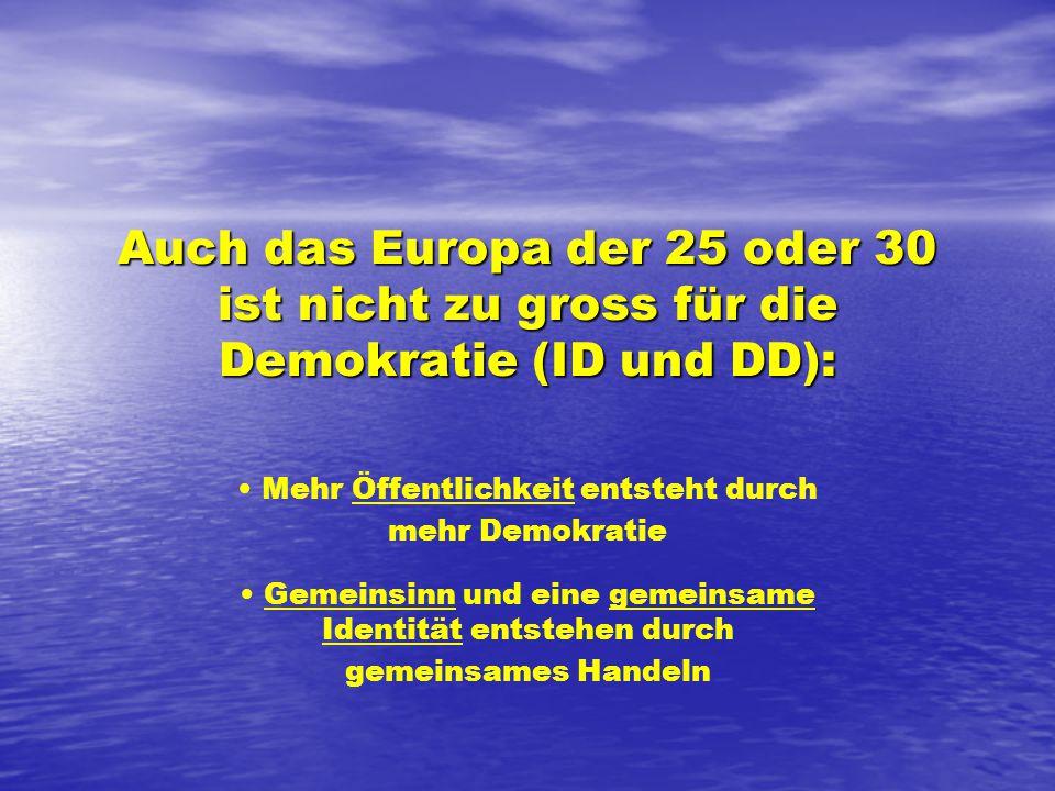 Auch das Europa der 25 oder 30 ist nicht zu gross für die Demokratie (ID und DD): Mehr Öffentlichkeit entsteht durch mehr Demokratie Gemeinsinn und eine gemeinsame Identität entstehen durch gemeinsames Handeln