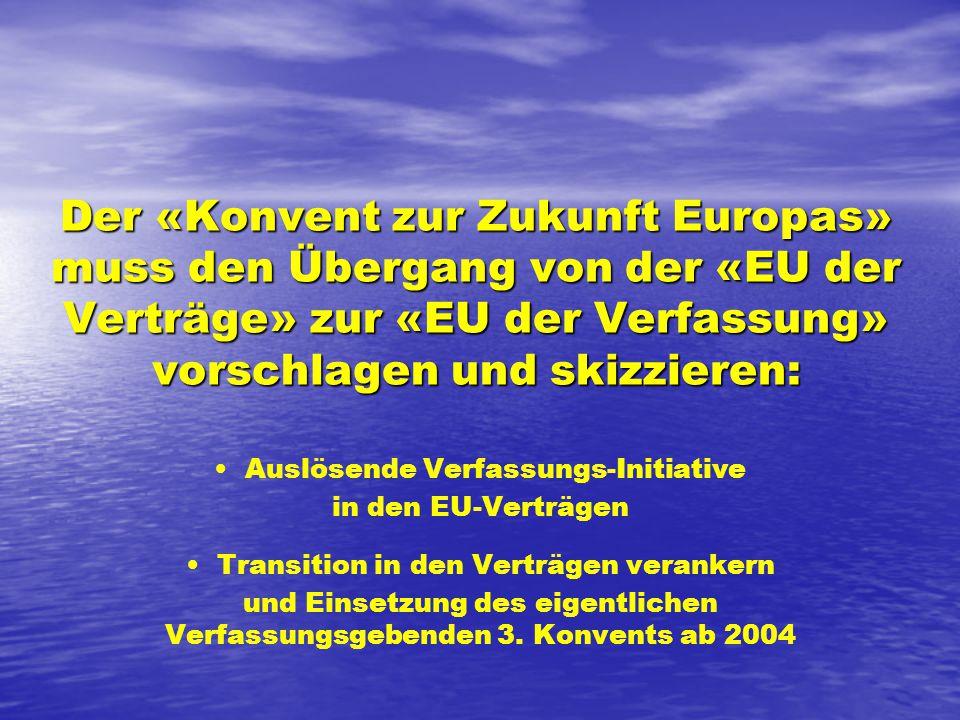 Der «Konvent zur Zukunft Europas» muss den Übergang von der «EU der Verträge» zur «EU der Verfassung» vorschlagen und skizzieren: Auslösende Verfassungs-Initiative in den EU-Verträgen Transition in den Verträgen verankern und Einsetzung des eigentlichen Verfassungsgebenden 3.