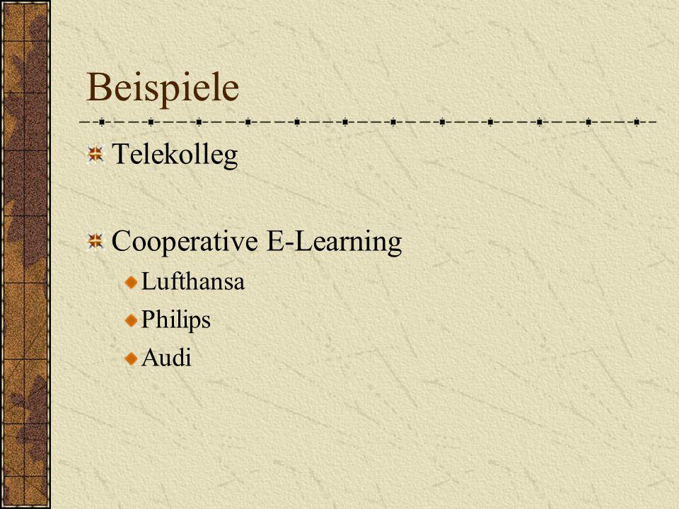 Telekolleg Cooperative E-Learning Lufthansa Philips Audi Beispiele