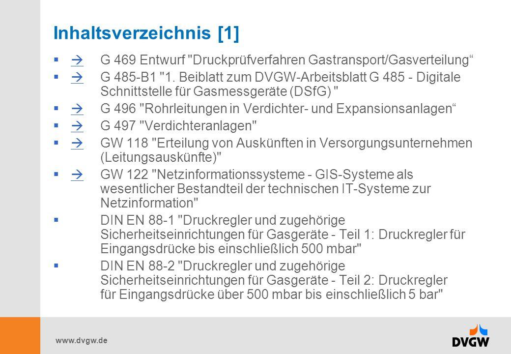 www.dvgw.de Inhaltsverzeichnis [1]  G 469 Entwurf
