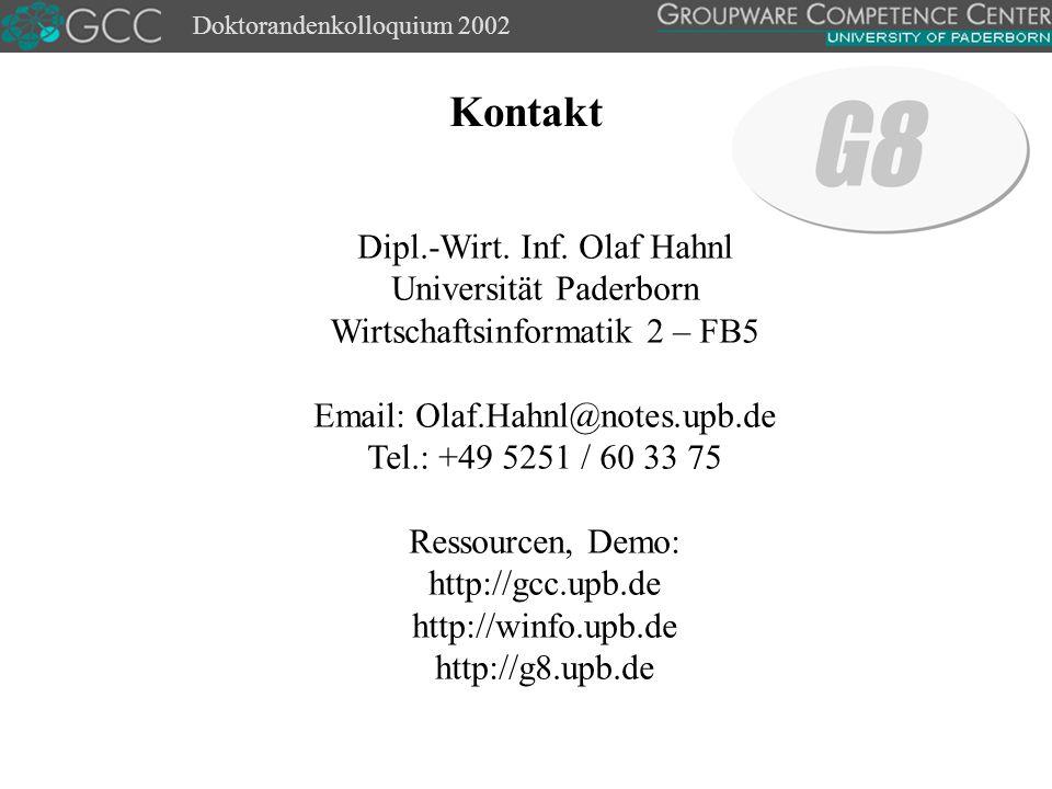 Doktorandenkolloquium 2002 Kontakt Dipl.-Wirt. Inf.