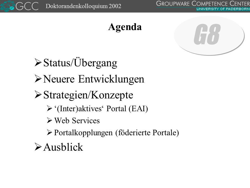Doktorandenkolloquium 2002 Agenda  Status/Übergang  Neuere Entwicklungen  Strategien/Konzepte  '(Inter)aktives' Portal (EAI)  Web Services  Portalkopplungen (föderierte Portale)  Ausblick