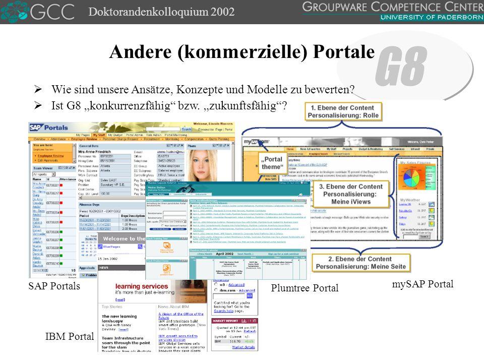 Doktorandenkolloquium 2002 Andere (kommerzielle) Portale SAP Portals mySAP Portal IBM Portal  Wie sind unsere Ansätze, Konzepte und Modelle zu bewerten.