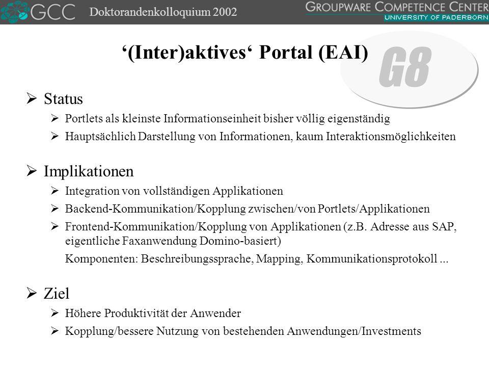 Doktorandenkolloquium 2002  Definition Unabhängige, modulare, plattform- und sprachunabhängige Applikationen, die beschrieben, veröffentlicht und über ein Netzwerk (i.d.R.