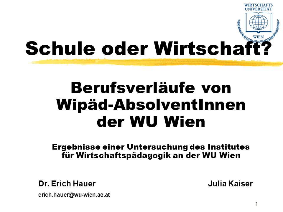 Institut für WirtschaftspädagogikDr.Erich Hauer22 Sind Wipäd-Inhalte in der Wirtschaft nützlich.