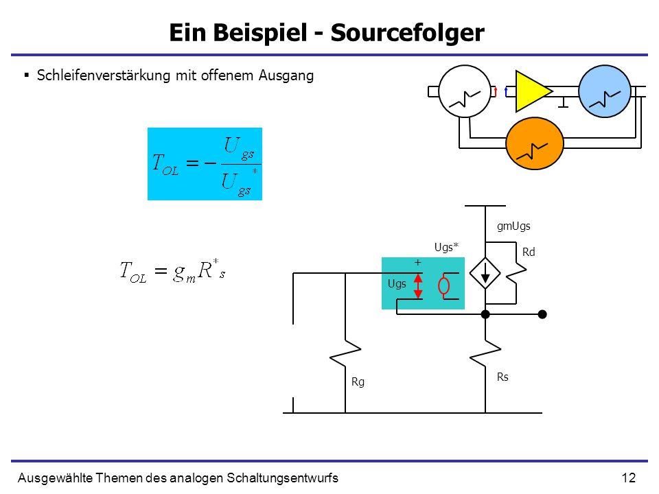 12Ausgewählte Themen des analogen Schaltungsentwurfs Ein Beispiel - Sourcefolger  Schleifenverstärkung mit offenem Ausgang Rs Rg Ugs + gmUgs Rd Ugs*