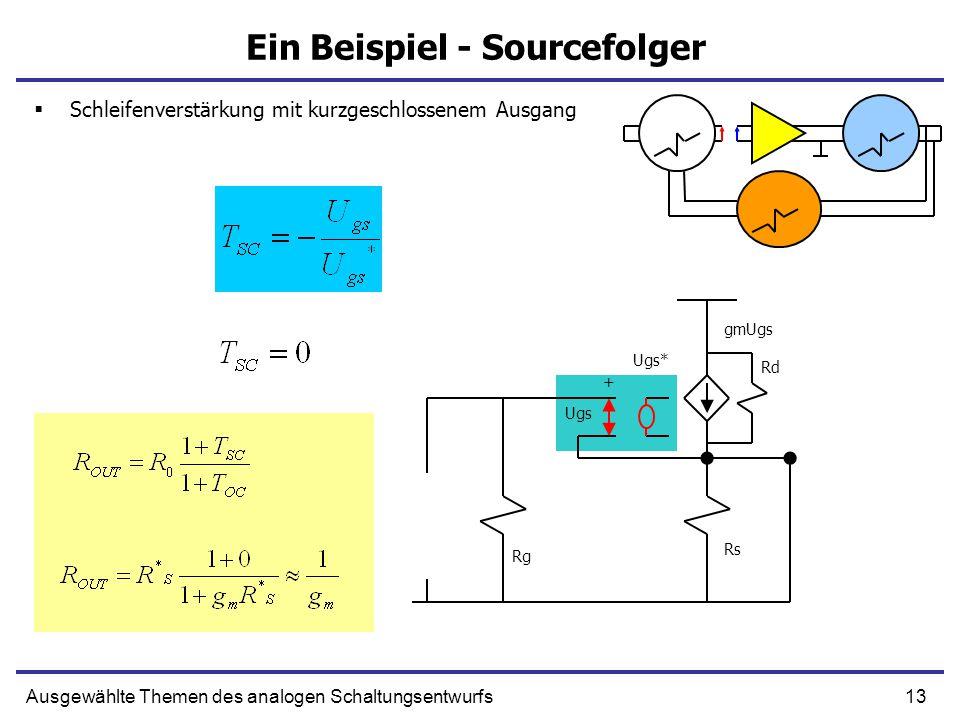 13Ausgewählte Themen des analogen Schaltungsentwurfs Ein Beispiel - Sourcefolger Rs Rg Ugs + gmUgs Rd Ugs*  Schleifenverstärkung mit kurzgeschlossenem Ausgang
