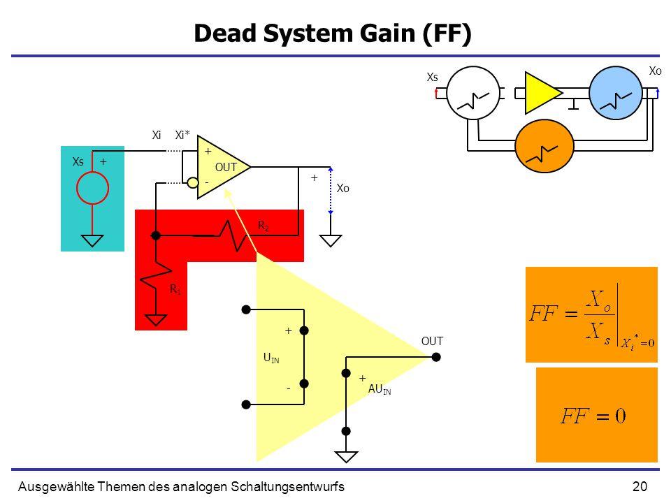 20Ausgewählte Themen des analogen Schaltungsentwurfs Dead System Gain (FF) + U IN - AU IN + + - OUT R1R1 R2R2 Xs+ Xo + XiXi* Xo Xs