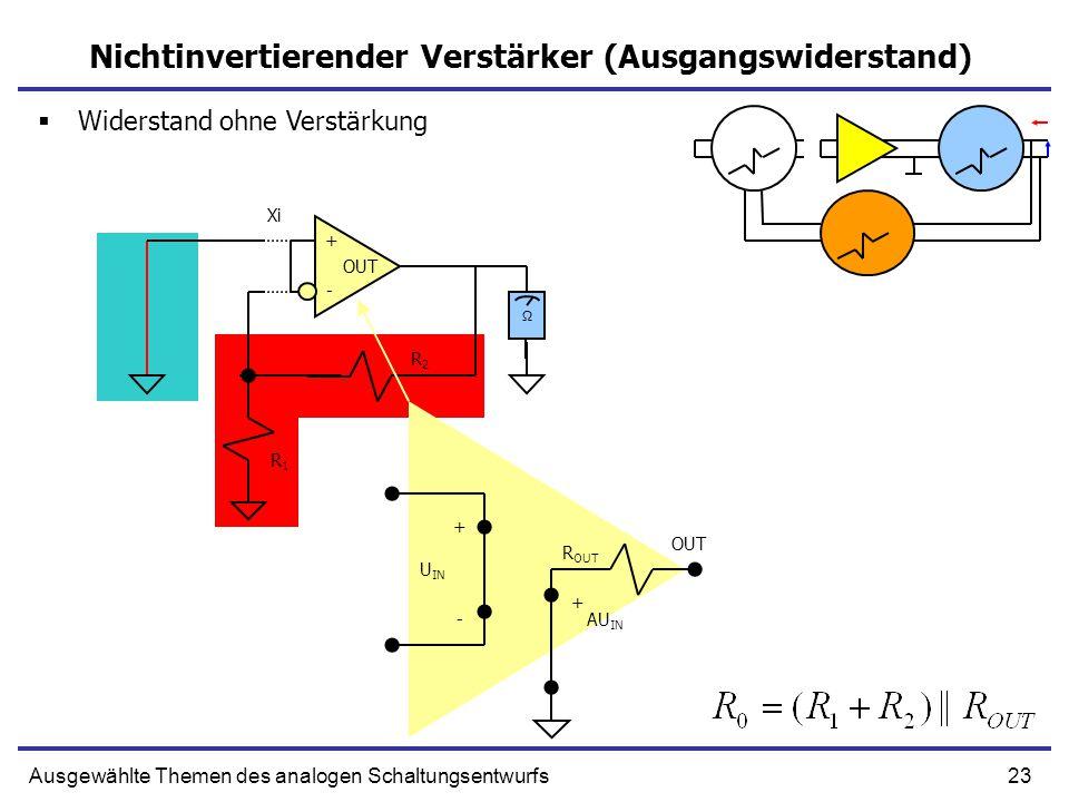 23Ausgewählte Themen des analogen Schaltungsentwurfs Nichtinvertierender Verstärker (Ausgangswiderstand) + U IN - AU IN + R OUT + - OUT R1R1 R2R2 Xi Ω  Widerstand ohne Verstärkung