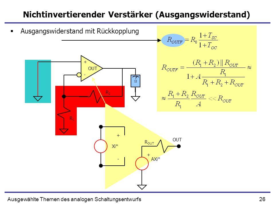 26Ausgewählte Themen des analogen Schaltungsentwurfs Nichtinvertierender Verstärker (Ausgangswiderstand) + - OUT R1R1 R2R2 Ω + - AXi* + Xi* R OUT  Ausgangswiderstand mit Rückkopplung