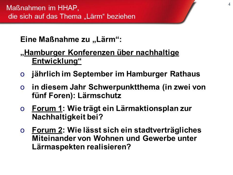 """4 Eine Maßnahme zu """"Lärm : """"Hamburger Konferenzen über nachhaltige Entwicklung ojährlich im September im Hamburger Rathaus oin diesem Jahr Schwerpunktthema (in zwei von fünf Foren): Lärmschutz oForum 1: Wie trägt ein Lärmaktionsplan zur Nachhaltigkeit bei."""