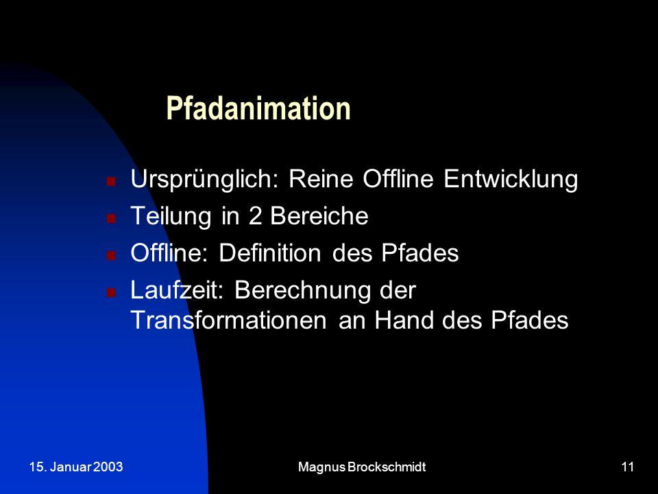 15. Januar 2003Magnus Brockschmidt11 Pfadanimation Ursprünglich: Reine Offline Entwicklung Teilung in 2 Bereiche Offline: Definition des Pfades Laufze